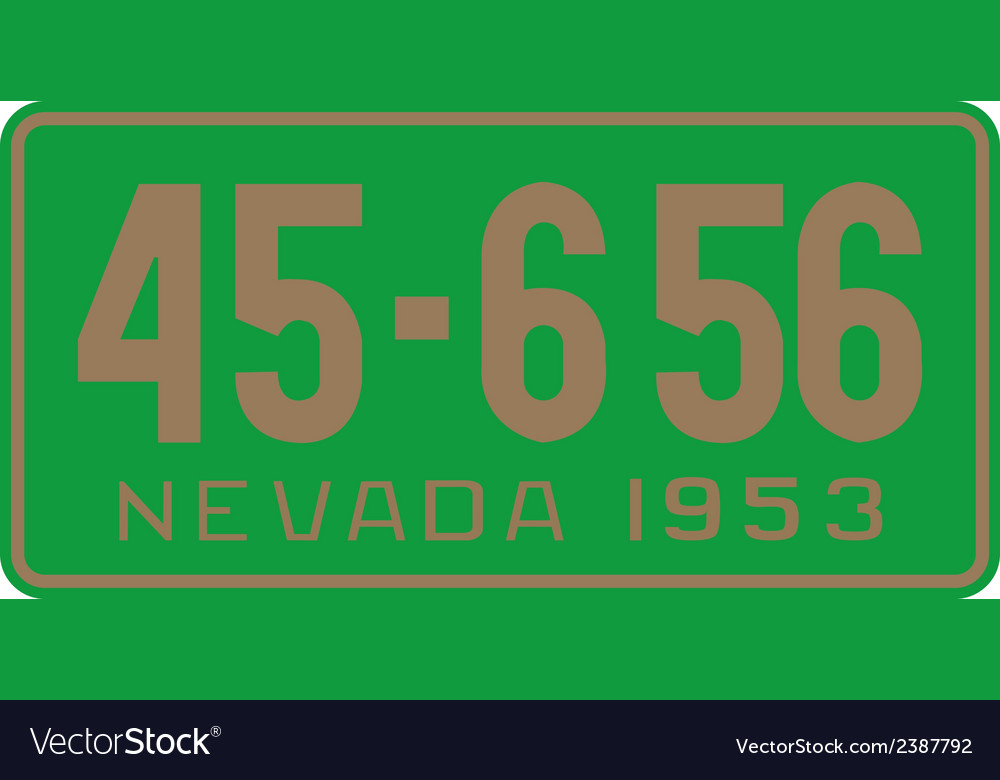 Nevada 1953 license plate vector | Price: 1 Credit (USD $1)