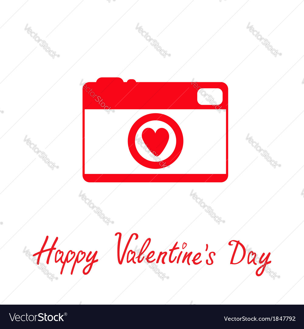 Red and white photo camera with heart valentines vector | Price: 1 Credit (USD $1)