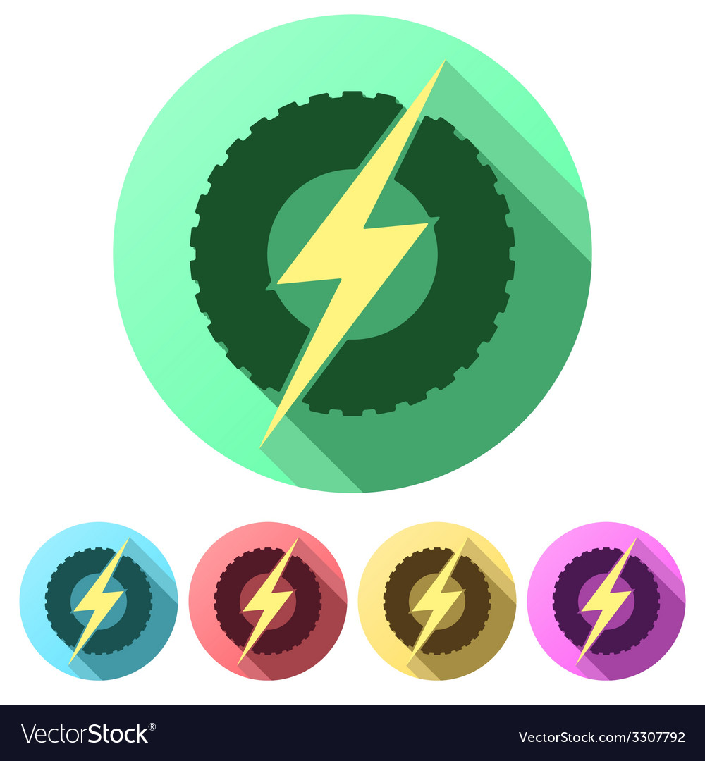 Set flat icons of round wheel with lightning eco vector | Price: 1 Credit (USD $1)