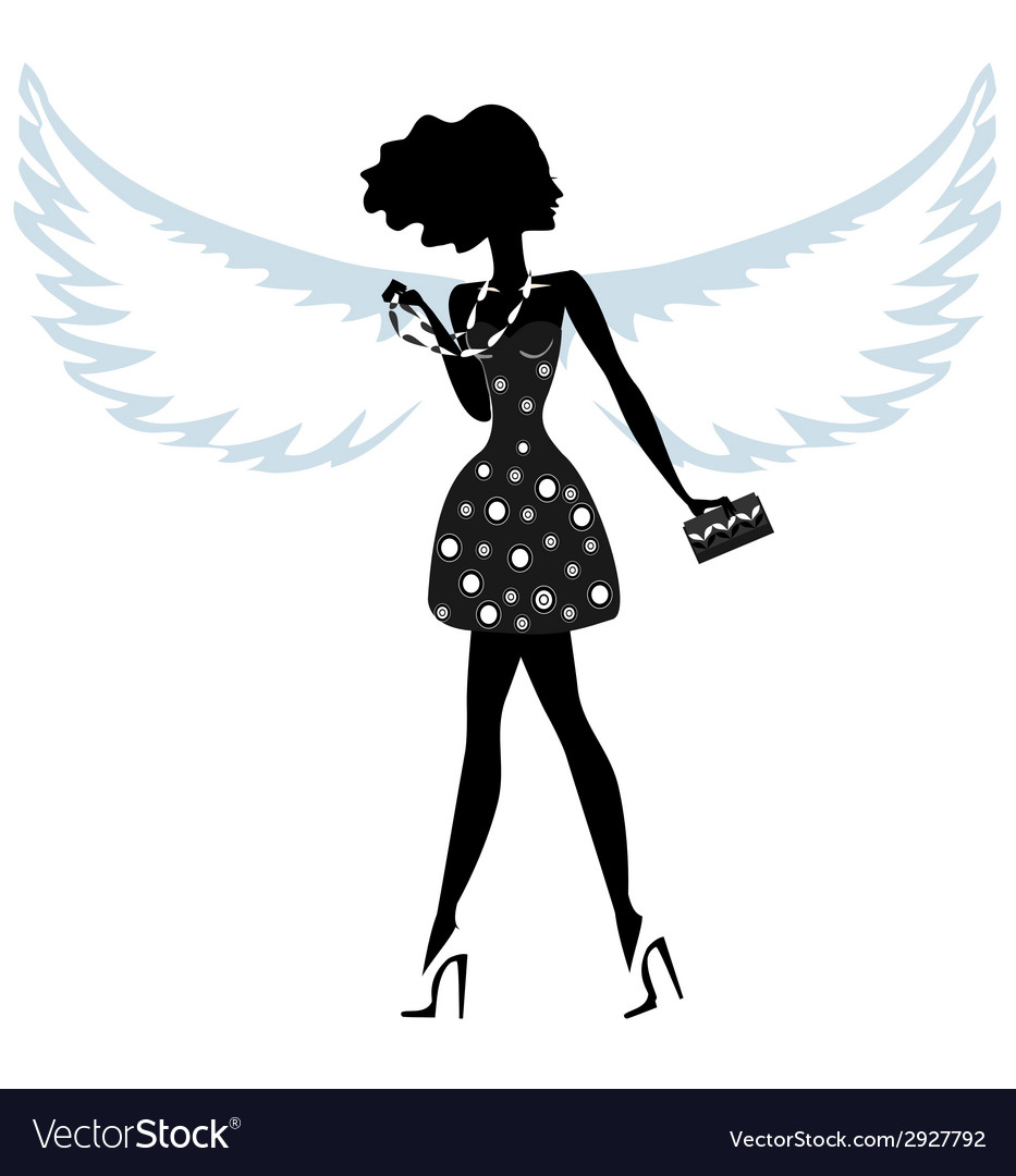Silhouette of a young woman with angel wings vector | Price: 1 Credit (USD $1)