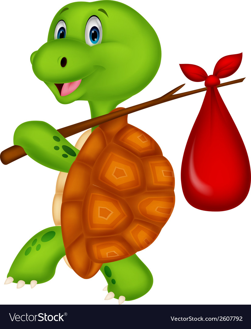 Turtle cartoon traveling vector | Price: 1 Credit (USD $1)