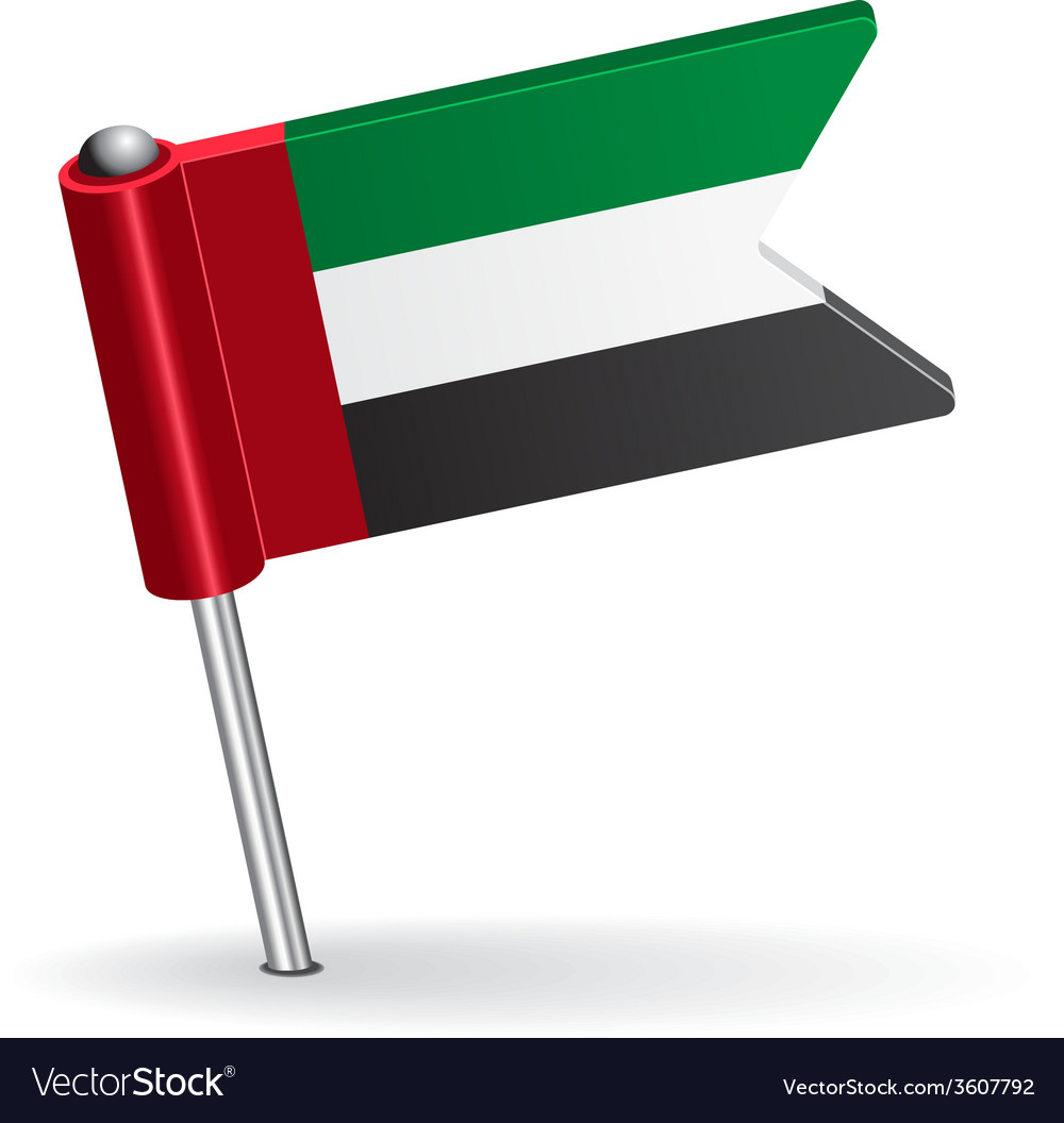 United arab emirates pin icon flag vector | Price: 1 Credit (USD $1)