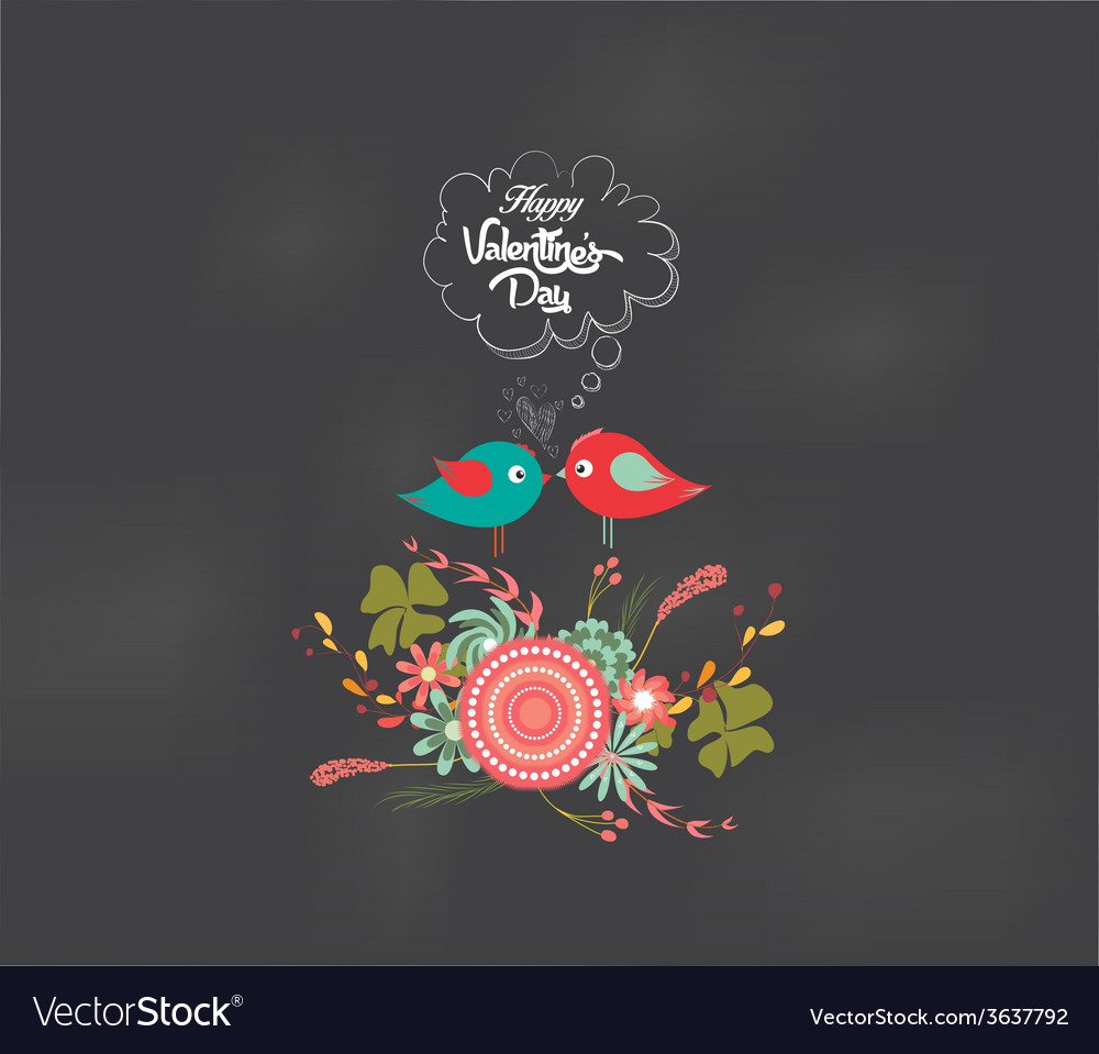 Valentines day romantic floral and bird card vector | Price: 1 Credit (USD $1)