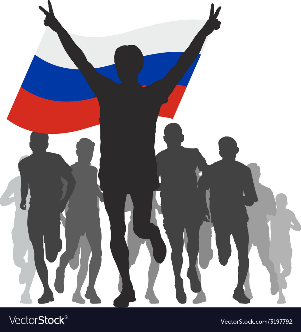 Winner with the russia flag at the finish vector | Price: 1 Credit (USD $1)