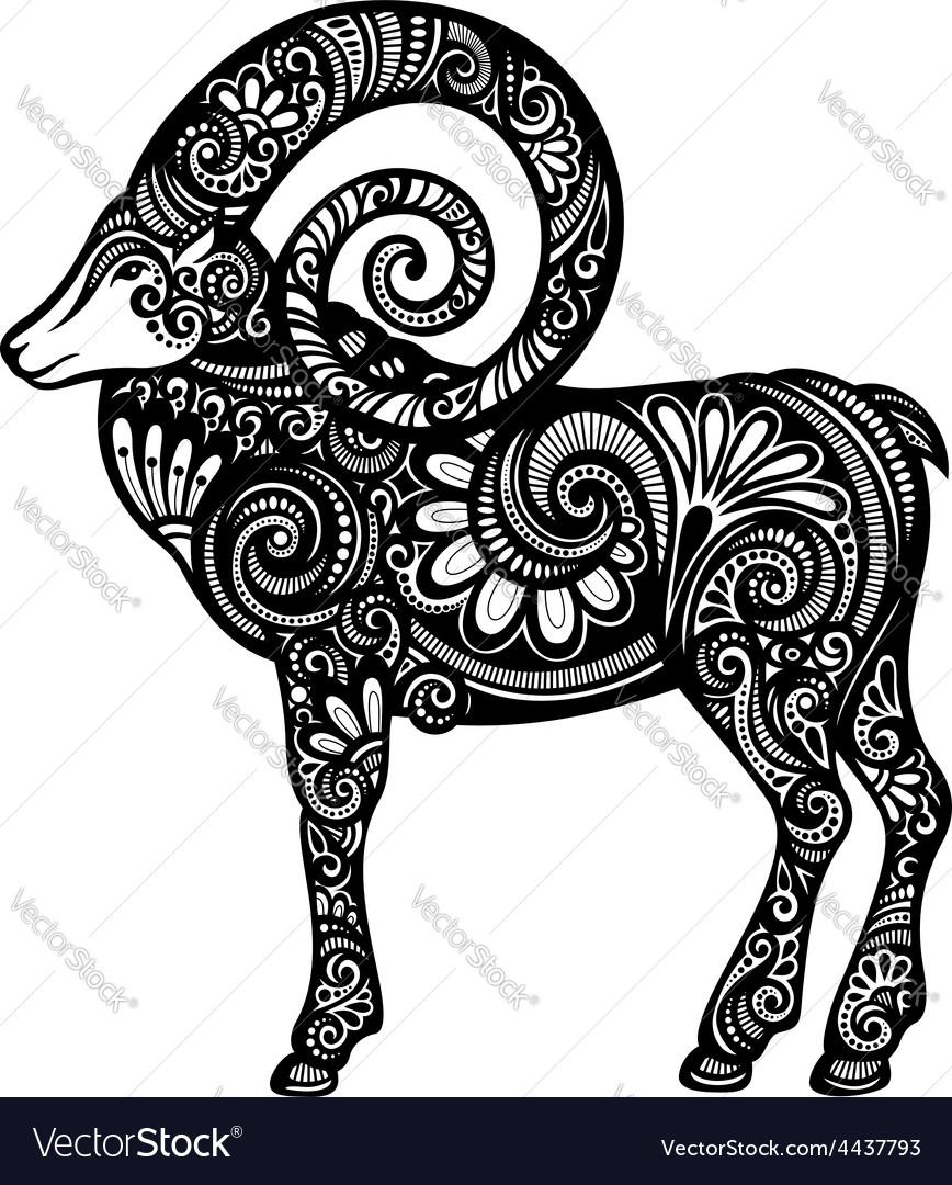 Artistic goat design vector | Price: 1 Credit (USD $1)