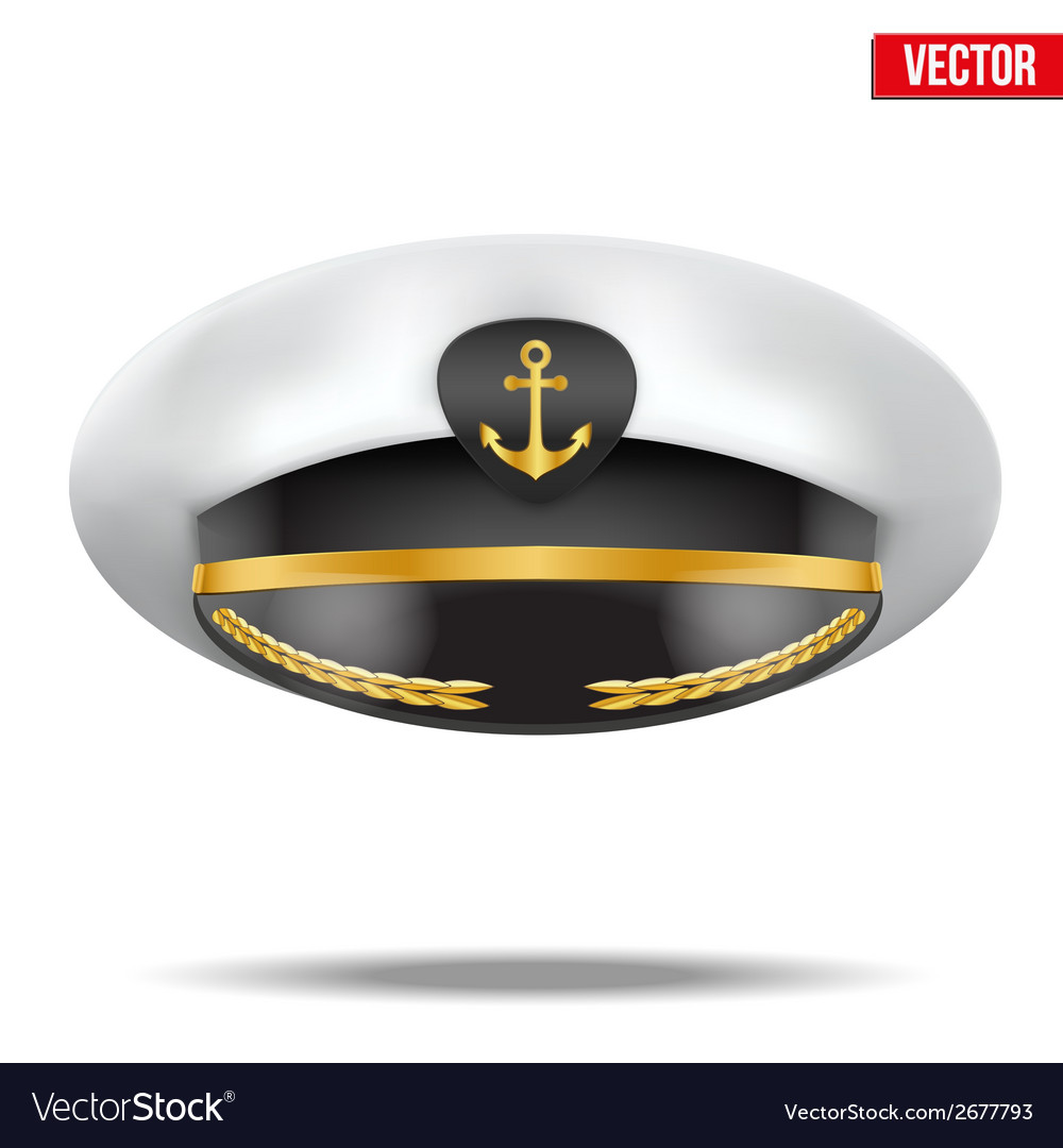 Captain peaked cap with gold anchor on cockade vector   Price: 1 Credit (USD $1)