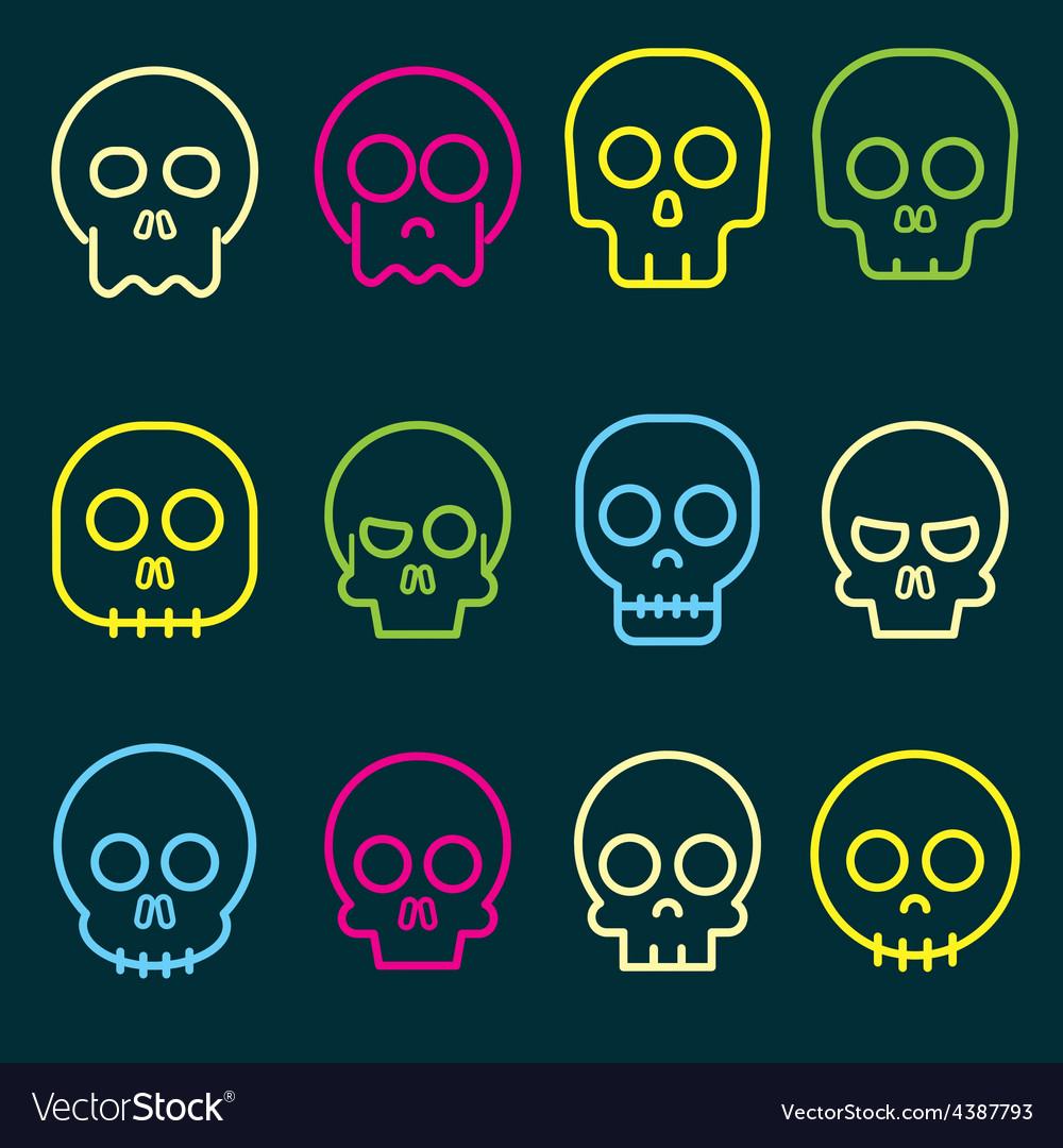 Cartoon skull icon set vector