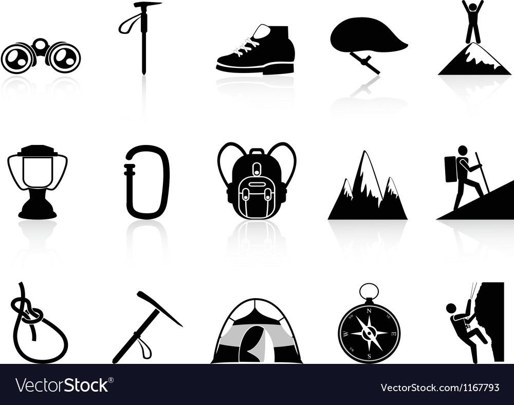 Climbing mountain icons set vector | Price: 1 Credit (USD $1)