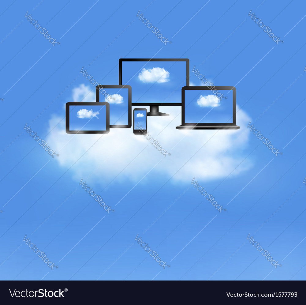 Cloud computing concept all computer devices and vector | Price: 1 Credit (USD $1)