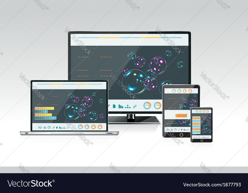 Computer monitor laptop and tablet pc vector   Price: 1 Credit (USD $1)