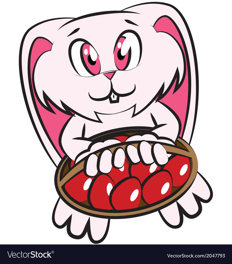 Easter bunny holding egg basket vector | Price: 1 Credit (USD $1)