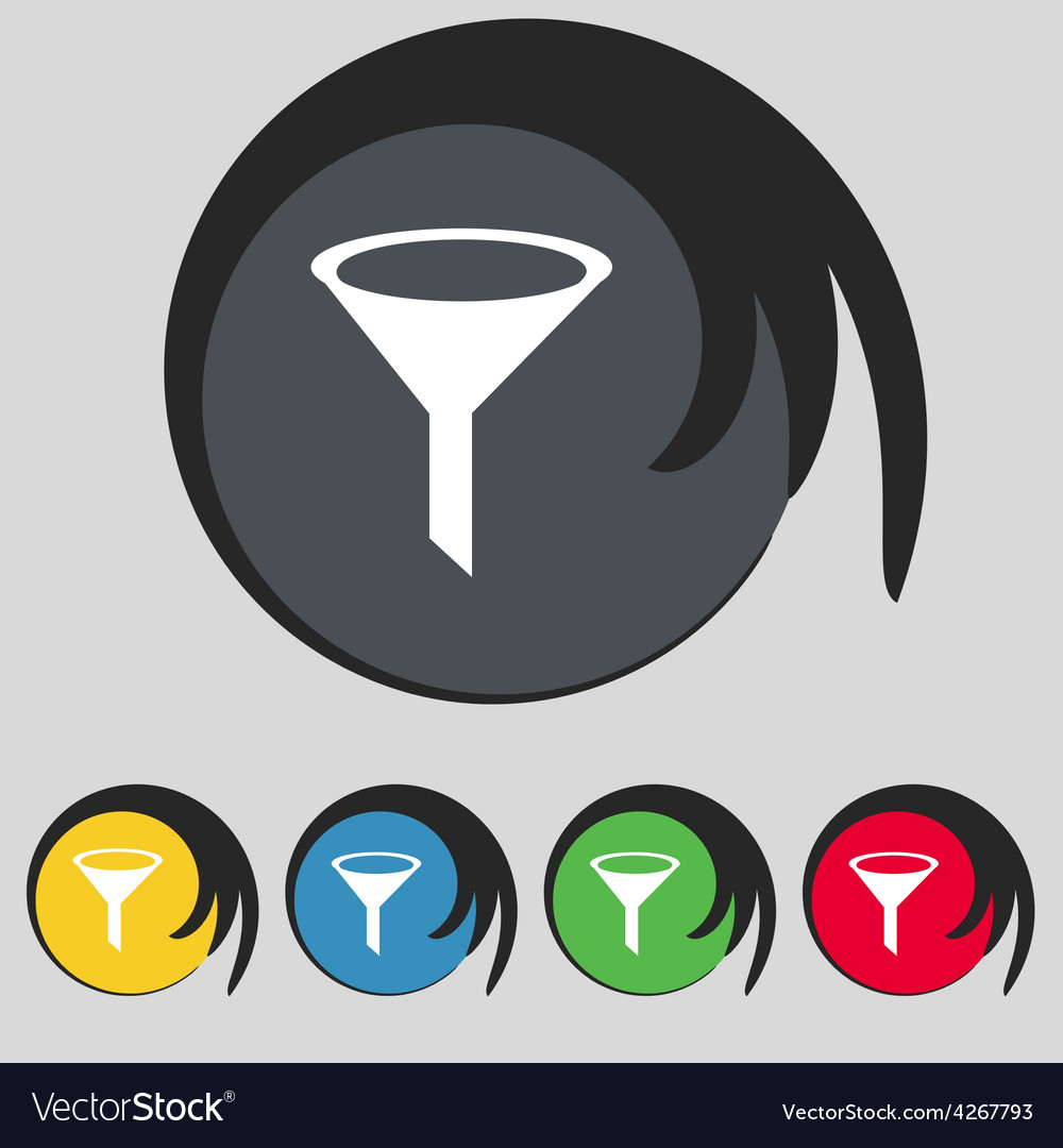 Funnel icon sign symbol on five colored buttons vector | Price: 1 Credit (USD $1)