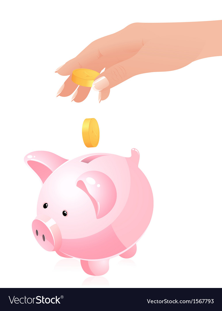 Hand throwing money in piggy bank vector | Price: 1 Credit (USD $1)