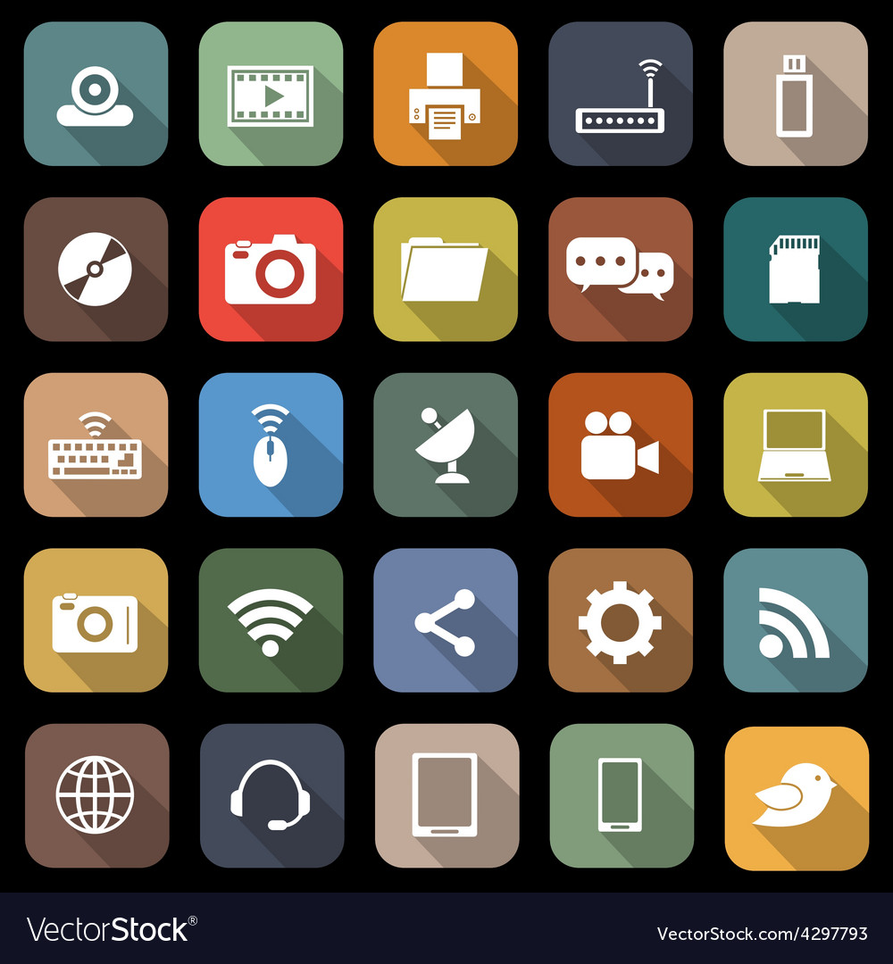 Hi tech flat icons with long shadow vector | Price: 1 Credit (USD $1)