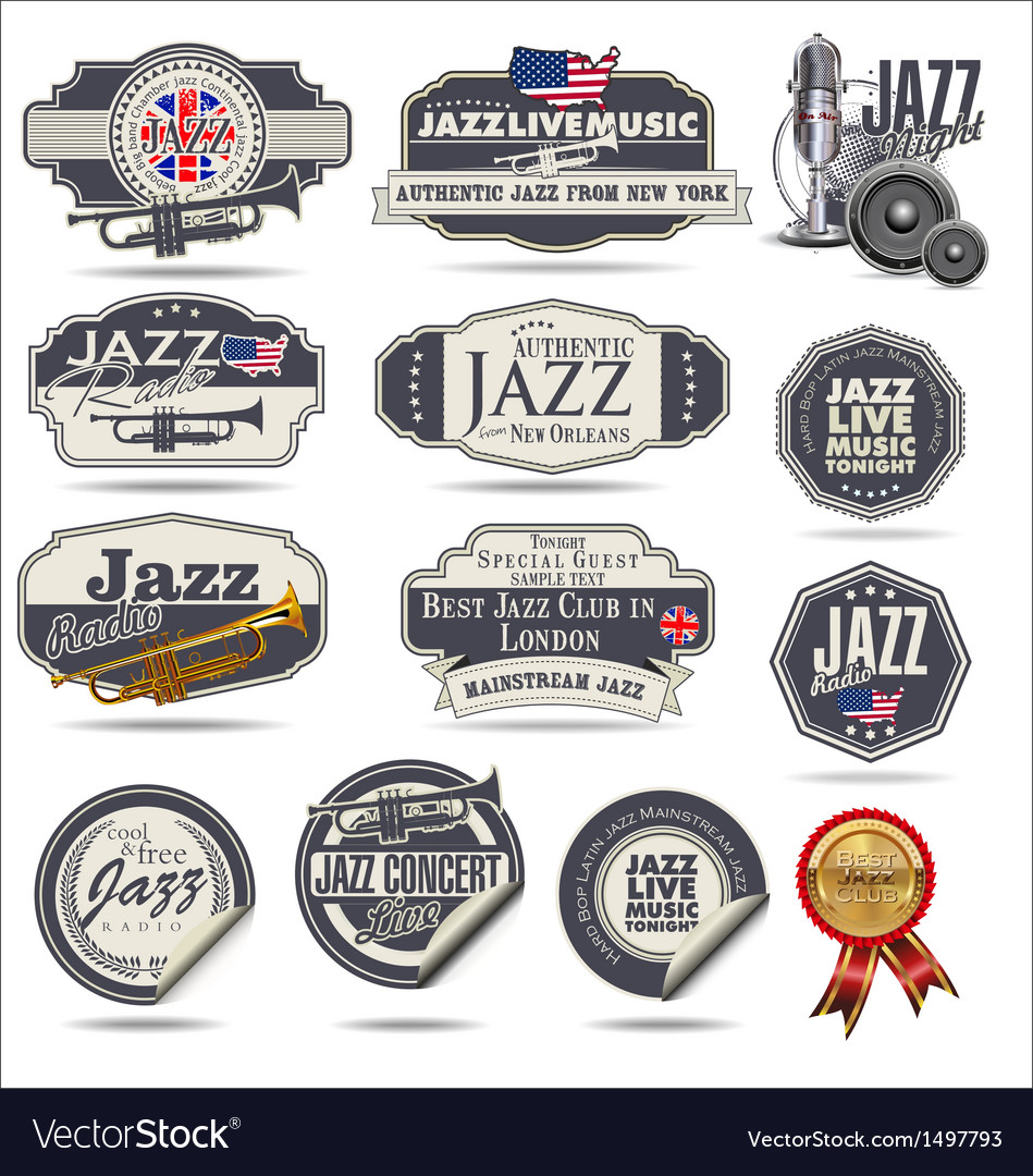 Jazz music stamps and labels vector | Price: 3 Credit (USD $3)