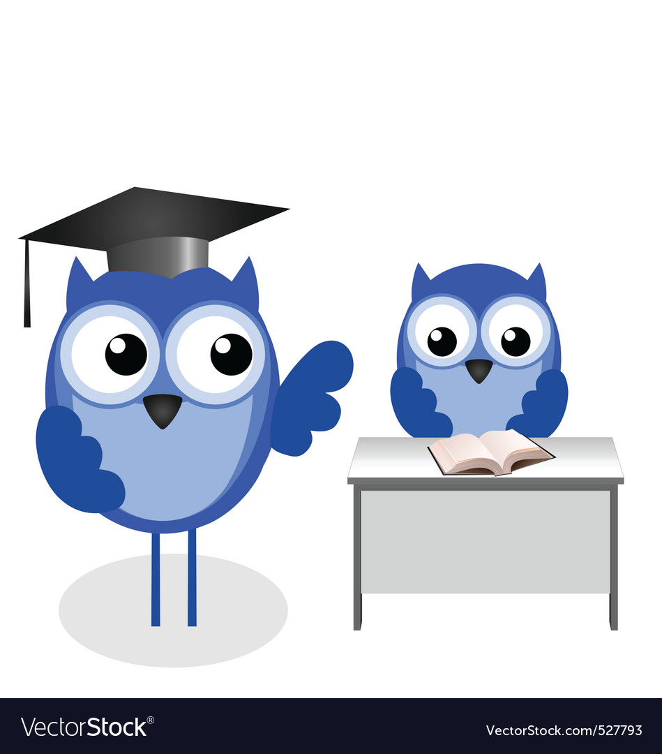 Owl teacher desk vector | Price: 1 Credit (USD $1)