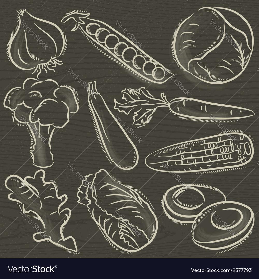Set of vegetable garlic peas cabbage vector | Price: 1 Credit (USD $1)