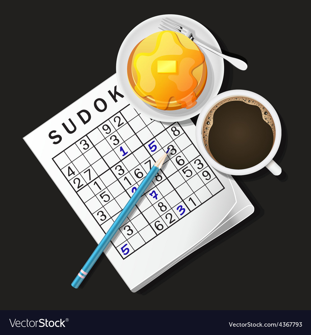 Sudoku game mug of coffee and pan vector | Price: 3 Credit (USD $3)