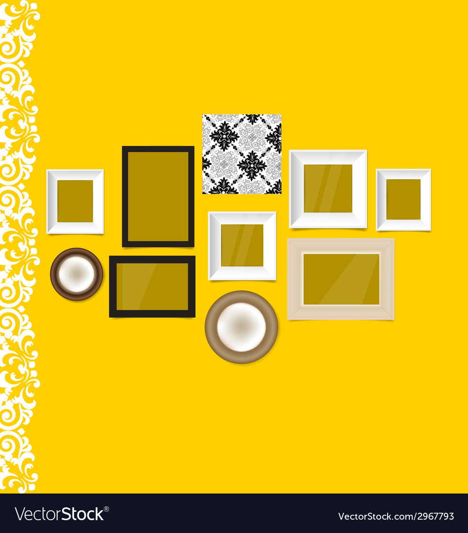 Vintage frames on yellow wall vector | Price: 1 Credit (USD $1)