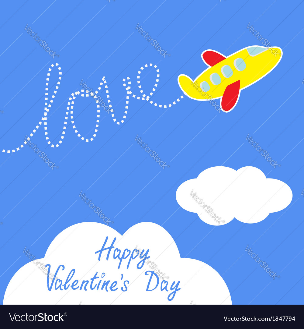 Cartoon helicopter dash word love valentines day vector | Price: 1 Credit (USD $1)