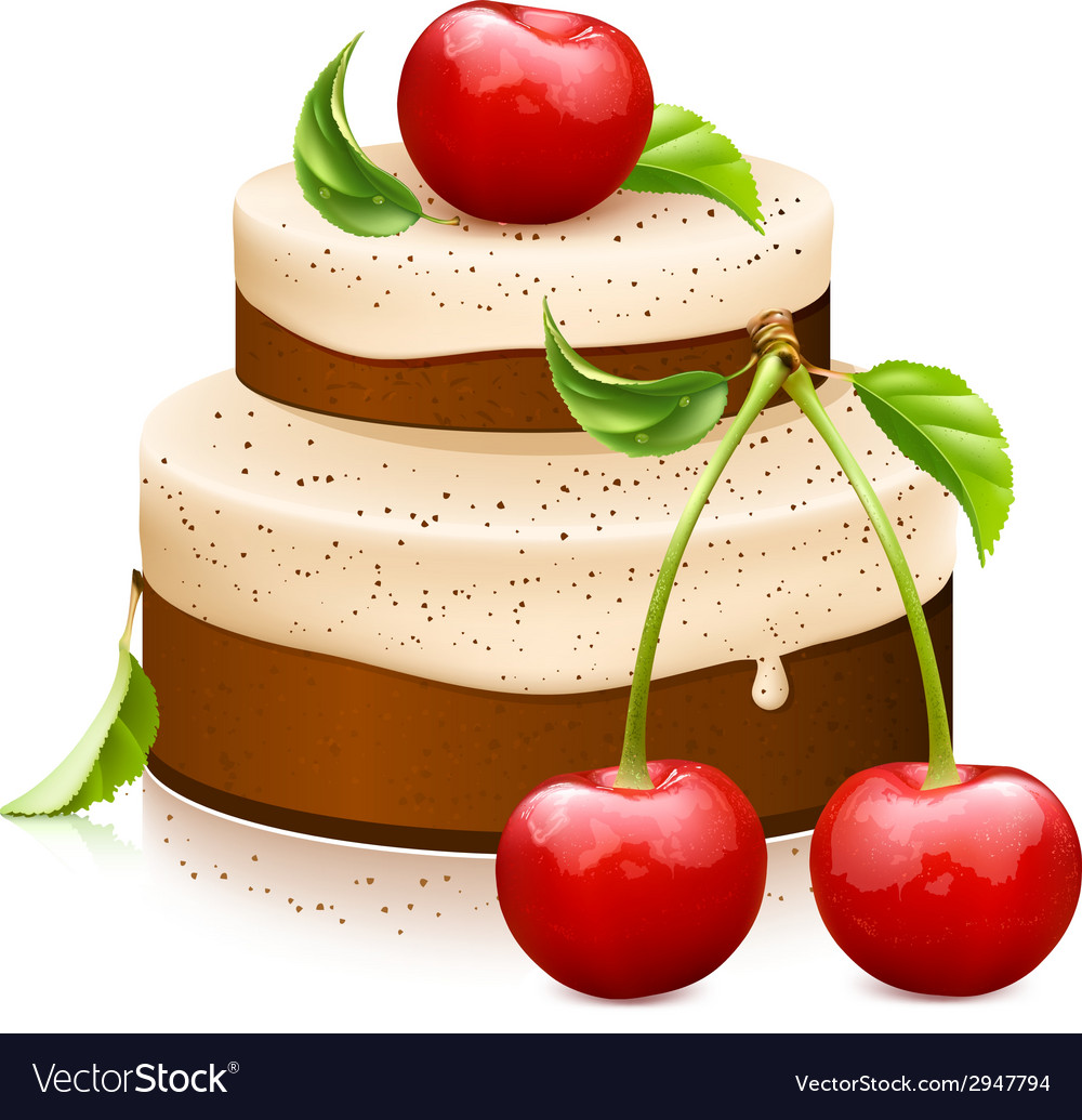 Sweet cake with ripe cherries vector | Price: 1 Credit (USD $1)