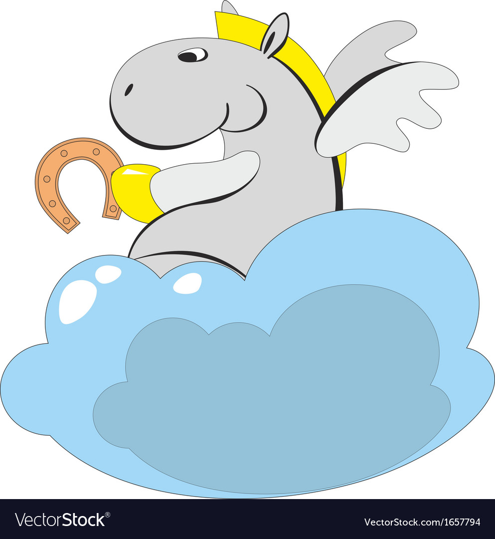 The winged horse on a cloud 006 vector | Price: 1 Credit (USD $1)