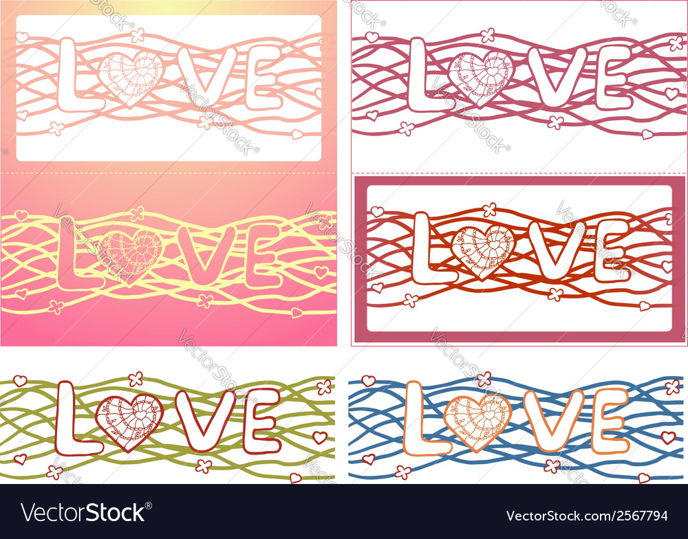 The word love in design background set of 6 cards vector | Price: 1 Credit (USD $1)