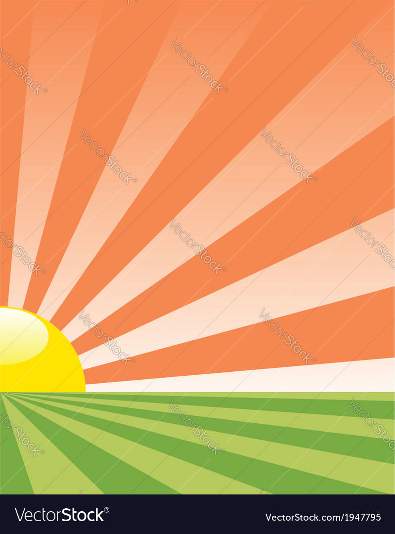 Background with rising sun vector | Price: 1 Credit (USD $1)