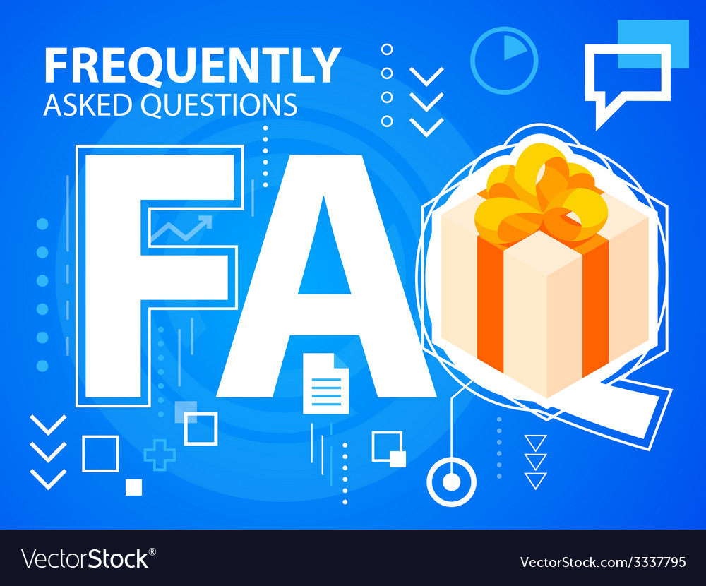 Bright faq and gift box with bow on blue bac vector | Price: 3 Credit (USD $3)