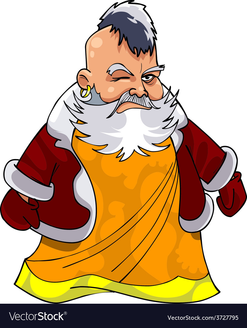 Cartoon asian grandfather in santa claus clothes vector | Price: 3 Credit (USD $3)