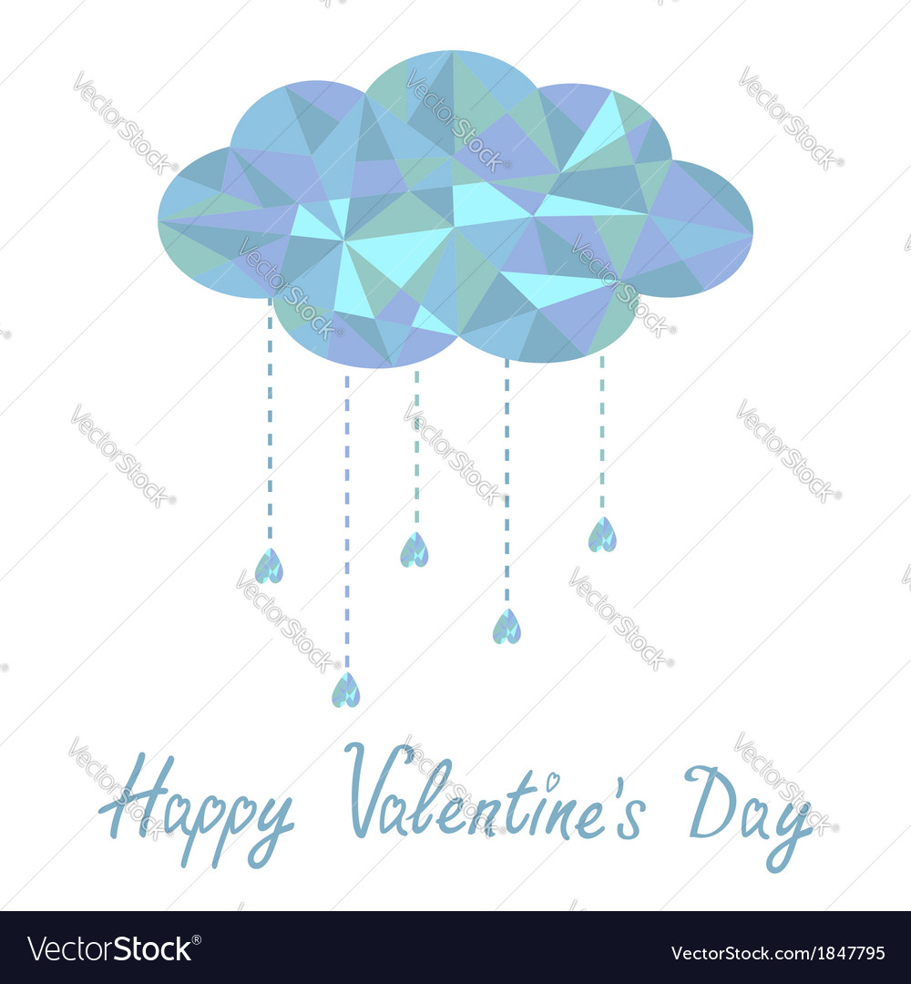 Cloud with hanging drops polygonal valentines day vector | Price: 1 Credit (USD $1)