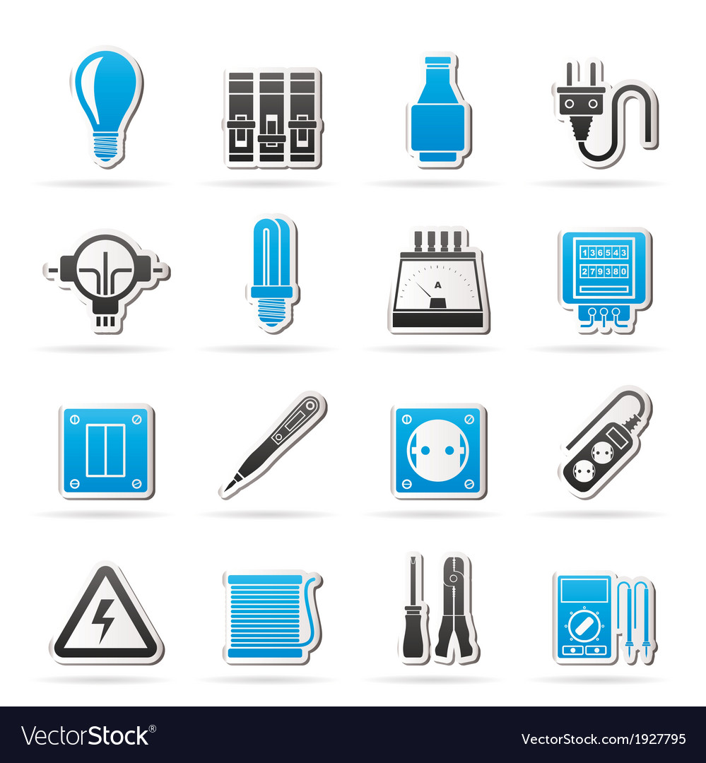 Electrical devices and equipment icons vector | Price: 1 Credit (USD $1)
