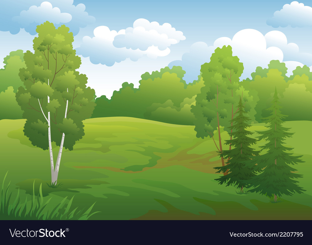 Landscape green summer forest vector | Price: 1 Credit (USD $1)