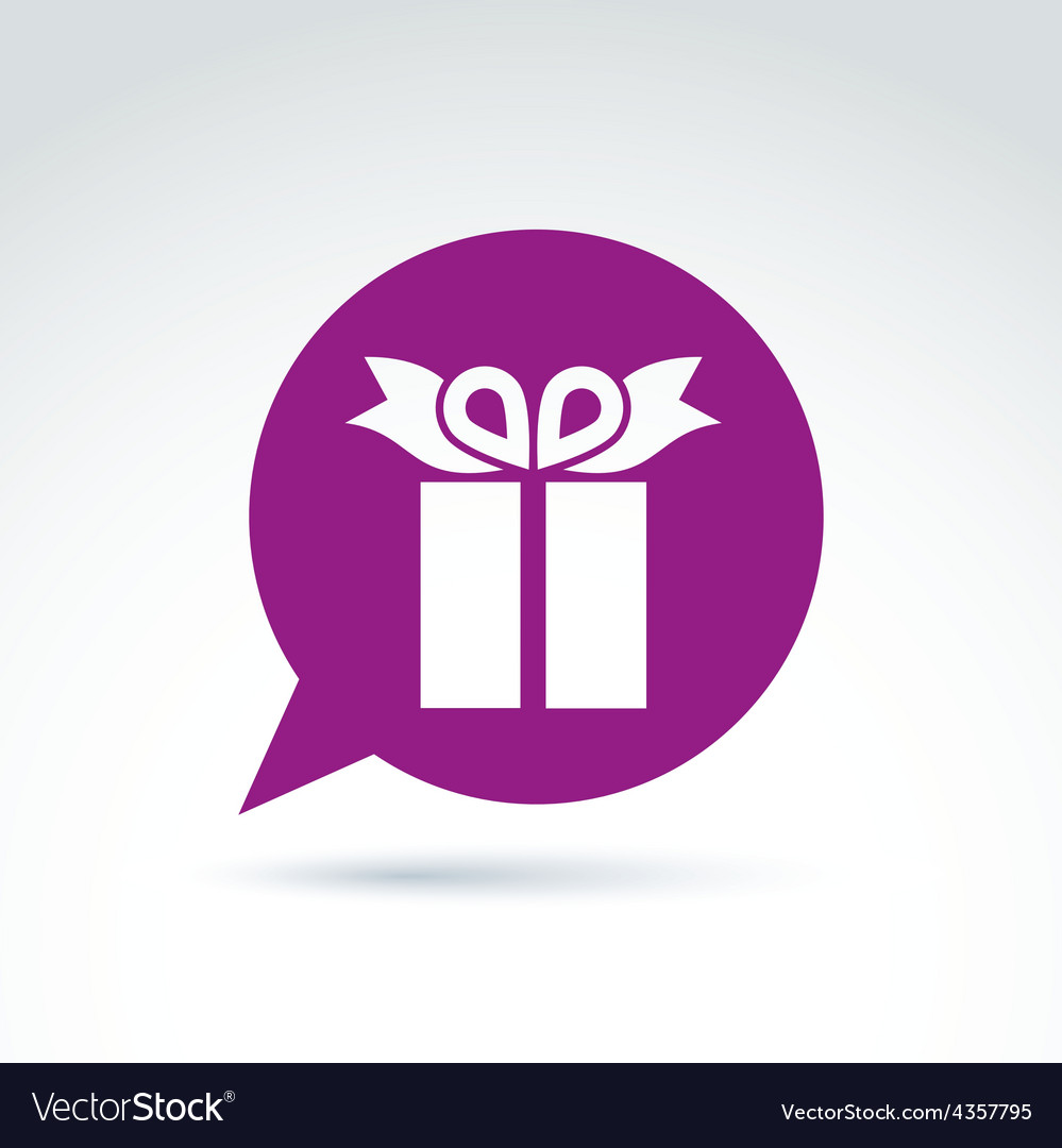 Purple speech bubble with a gift box sign present vector   Price: 1 Credit (USD $1)