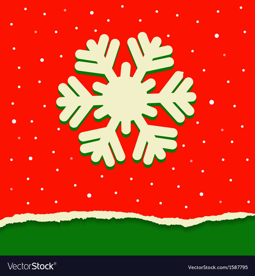 Red and green torn paper background with snowflake vector | Price: 1 Credit (USD $1)