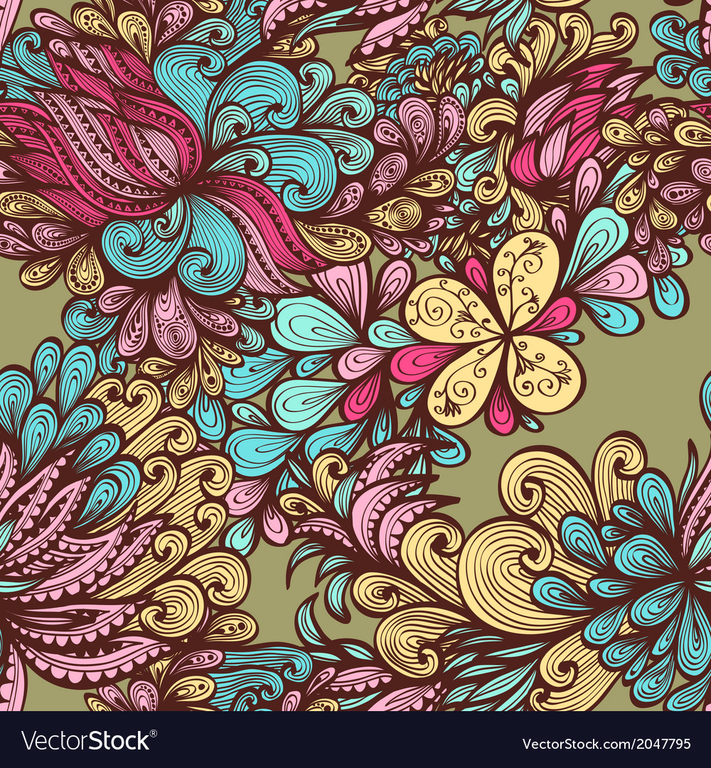 Seamless bright hand drawn floral pattern vector | Price: 1 Credit (USD $1)