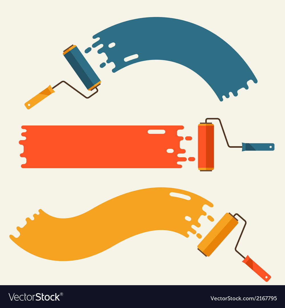 Set of roller brushes with strips paint vector | Price: 1 Credit (USD $1)