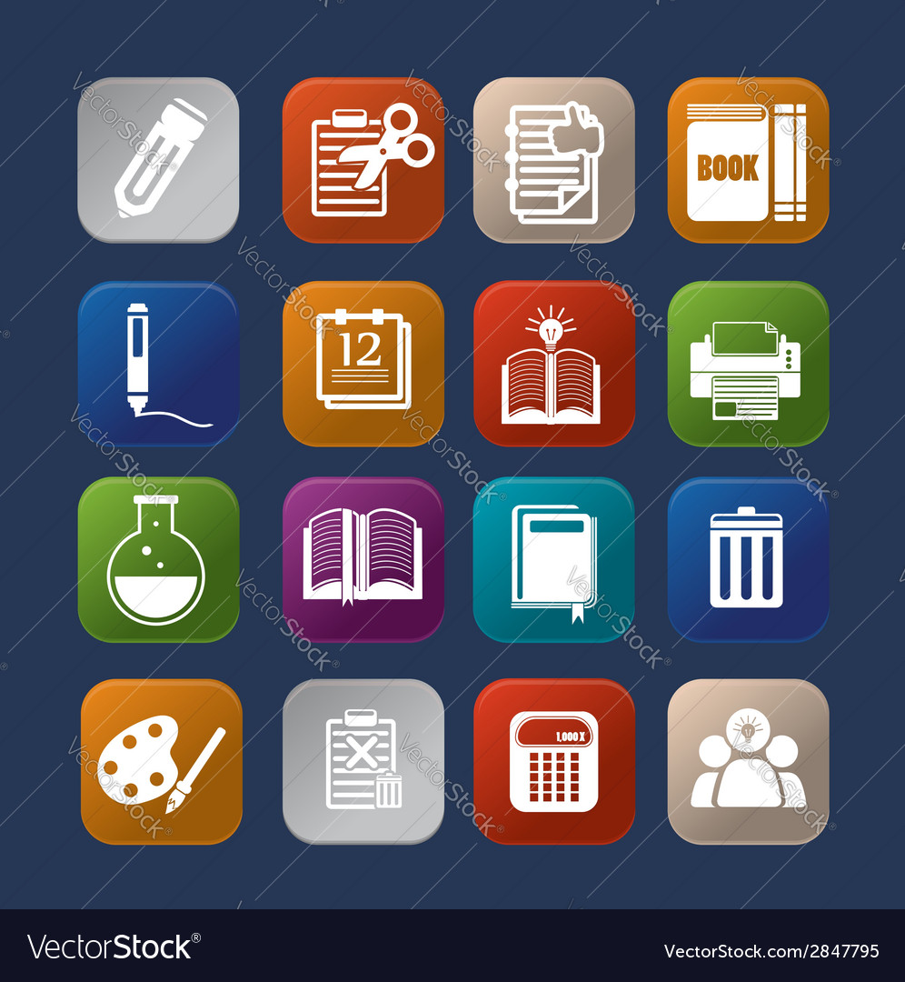 Tools learning colorful icon set eps10 vector   Price: 1 Credit (USD $1)