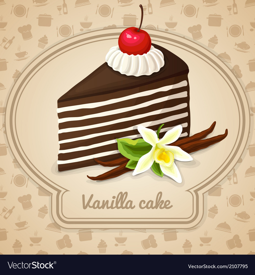 Vanilla layered cake poster vector | Price: 1 Credit (USD $1)