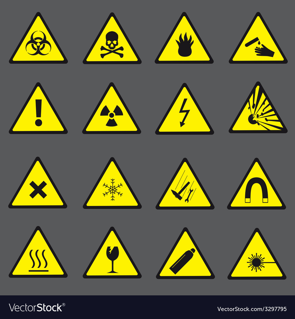 Yellow and black danger and warning signs set vector | Price: 1 Credit (USD $1)
