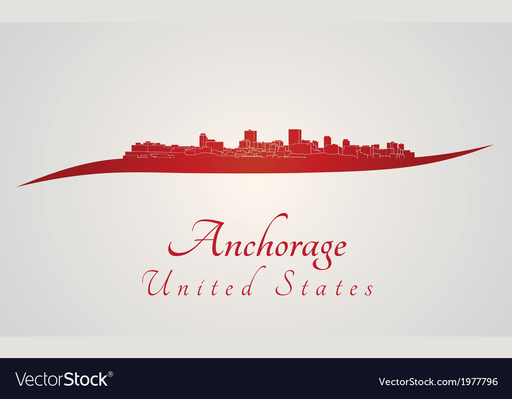 Anchorage skyline in red vector | Price: 1 Credit (USD $1)