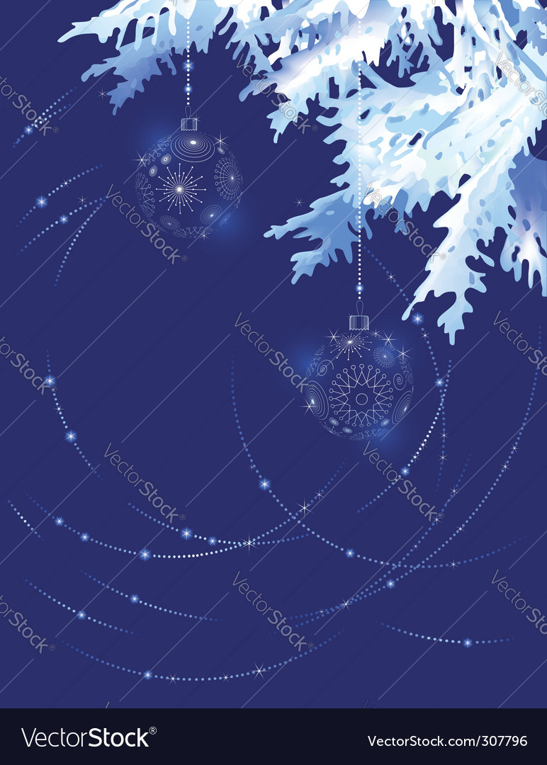 Christmas tree branch in blue vector   Price: 1 Credit (USD $1)