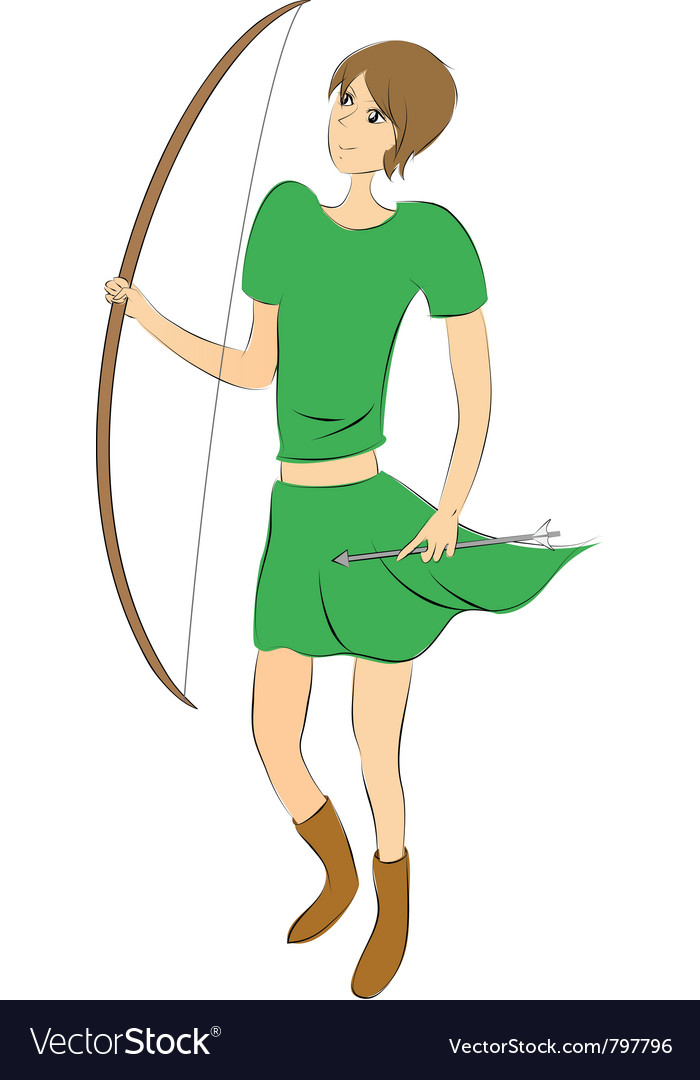 Female archer vector | Price: 1 Credit (USD $1)