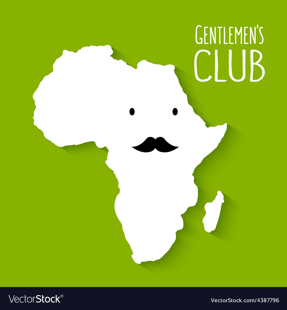 Fun moustache flat cartoon africa map gentleman vector   Price: 1 Credit (USD $1)