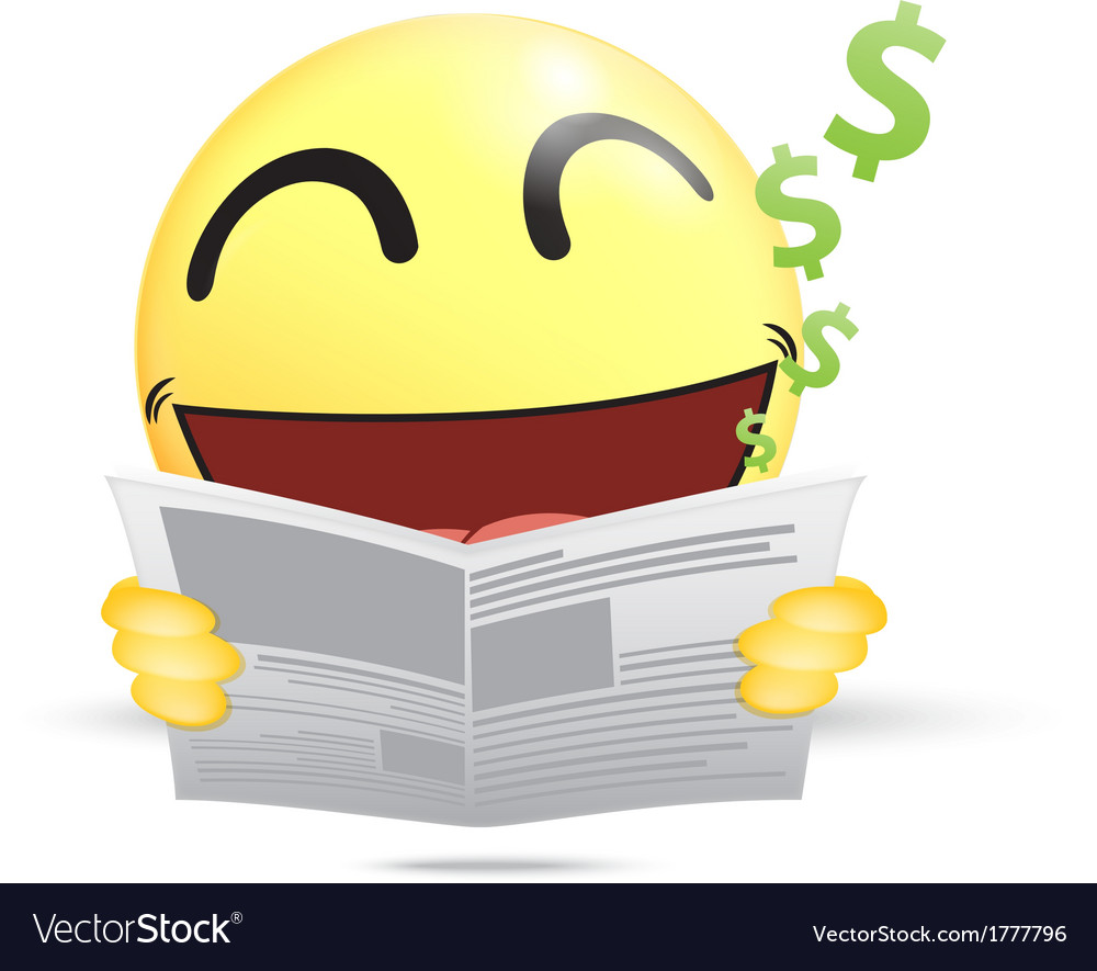 Happy emoticon reading a business newspaper vector | Price: 1 Credit (USD $1)