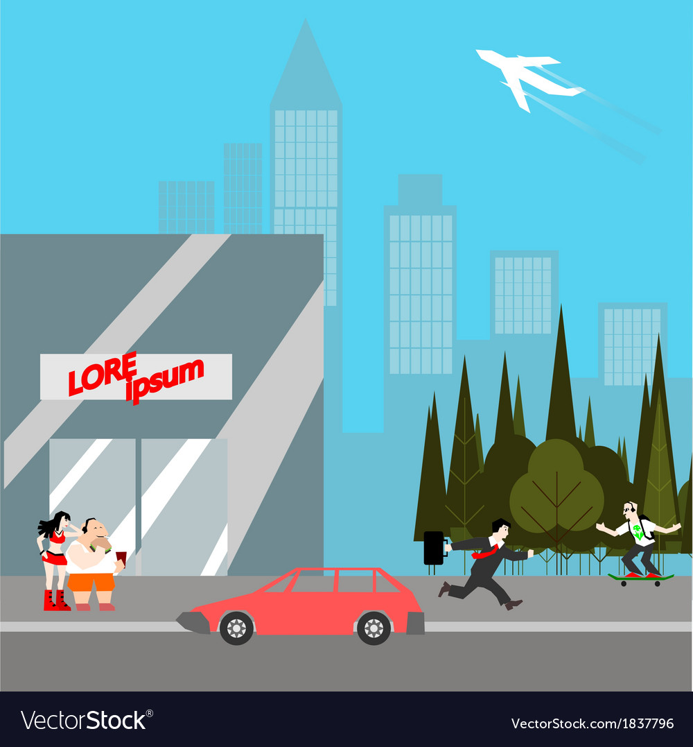 Modern city life flat style vector | Price: 1 Credit (USD $1)