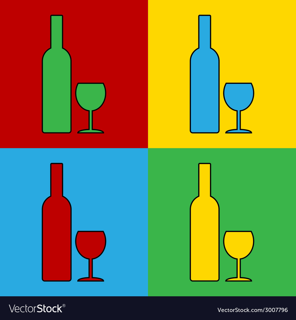 Pop art bottle and glasse vector | Price: 1 Credit (USD $1)