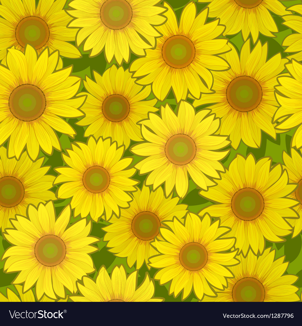 Sunflower flower seamless background vector | Price: 1 Credit (USD $1)