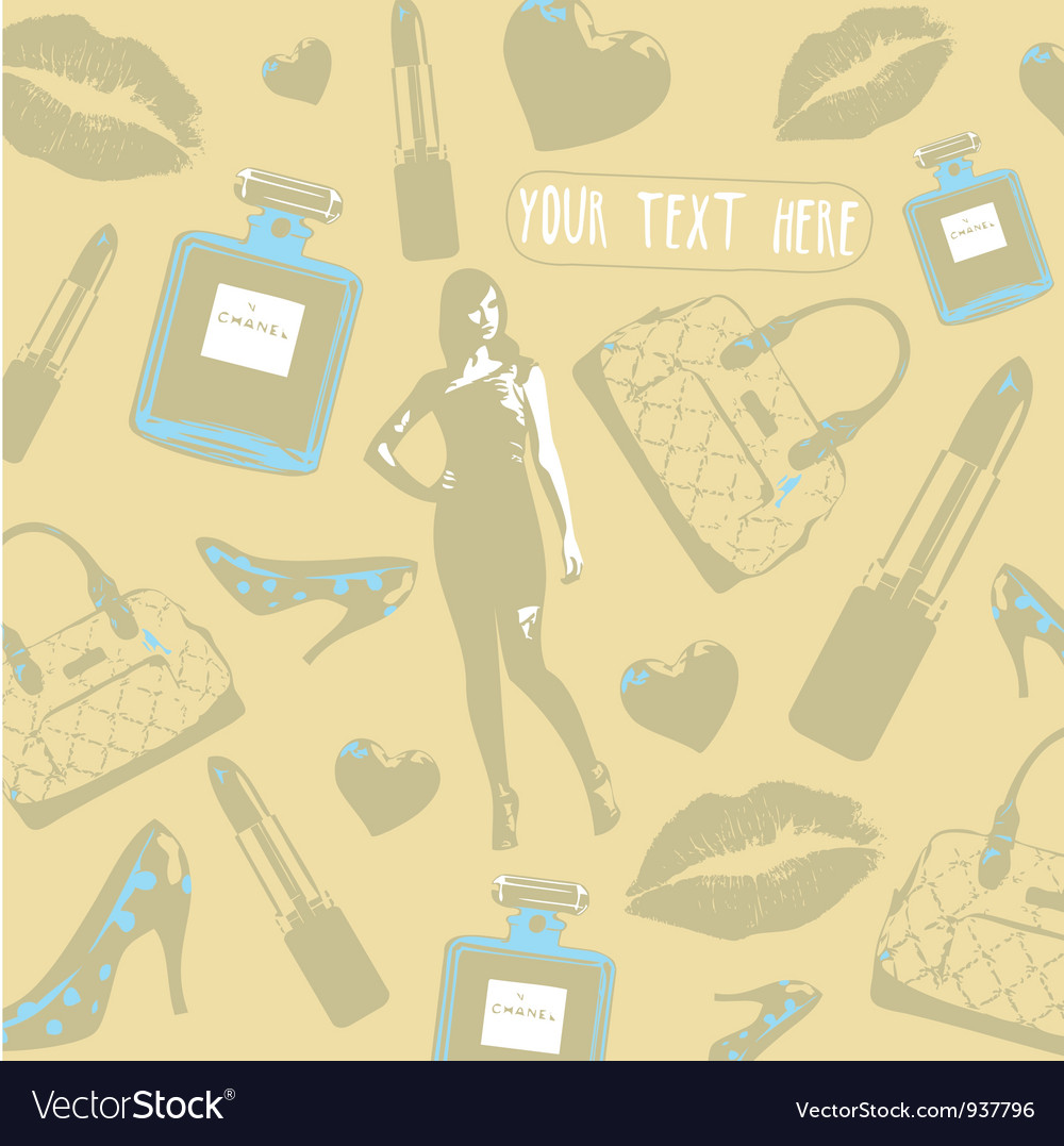 Vintage beauty fashion pattern vector | Price: 1 Credit (USD $1)