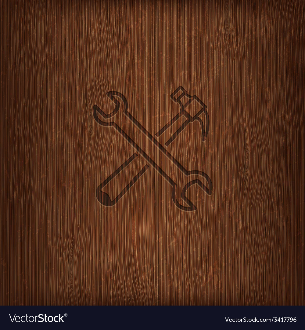 Vintage with a hammer and a wrench icon on wood vector | Price: 1 Credit (USD $1)